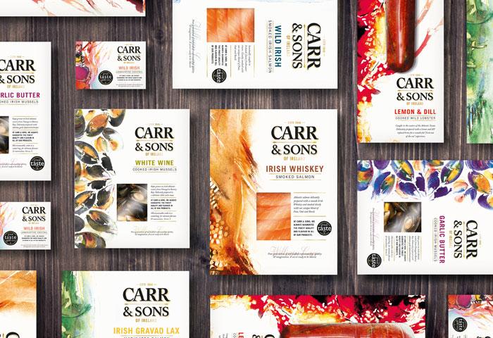 акварельный дизайн упаковки морепродуктов